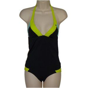 Nike black colorblock halter tankini set